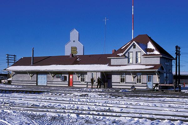 Camrose, AB#3, CNoR 3rd Class Plan 100-29 Depot, Look SW, Jan. 1981 Bohi Photo