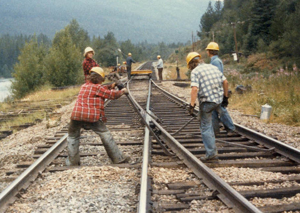 Changing Ties on the Main Line, Grant Brook, BC 1979, photo Grant S. Bailey
