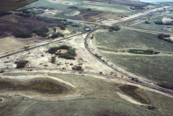 Aerial view of junction with the Brazeau Branch at Warden, and Canadian Northern Depot - 1981. ©C. Bohi Photo