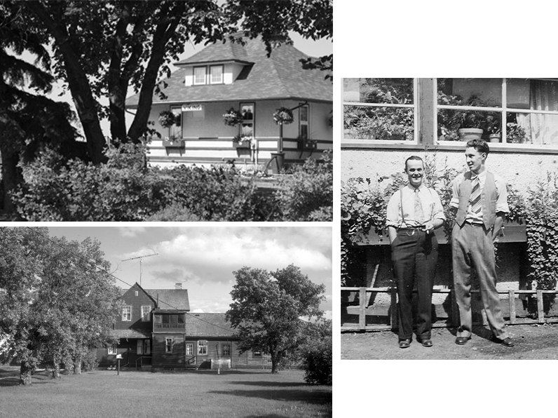 Top Left: Viking, AB, GTP depot gardens, 2008. ©S.I. Smith photo Bottom Left: Depot at Napinka, MB, 1983. ©photo C. Bohi Right: Agent Sid Tilley and Fred Fowler at Oyen, AB, 1950s. Photo©CNoS Archives